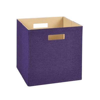 13 in. H x 13 in. W x 13 in. D Decorative Fabric Storage Bin in Purple