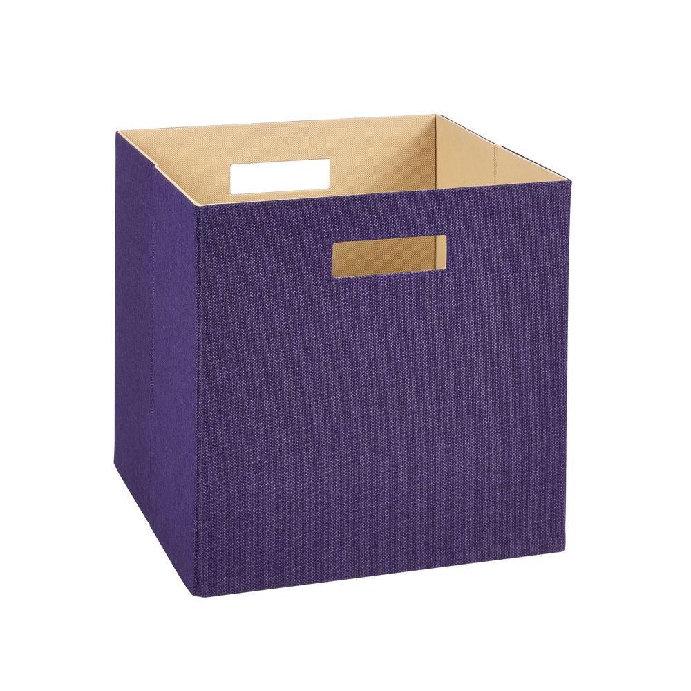 13 in. D x 13 in. H x 13 in. W Purple Fabric Cube Storage Bin