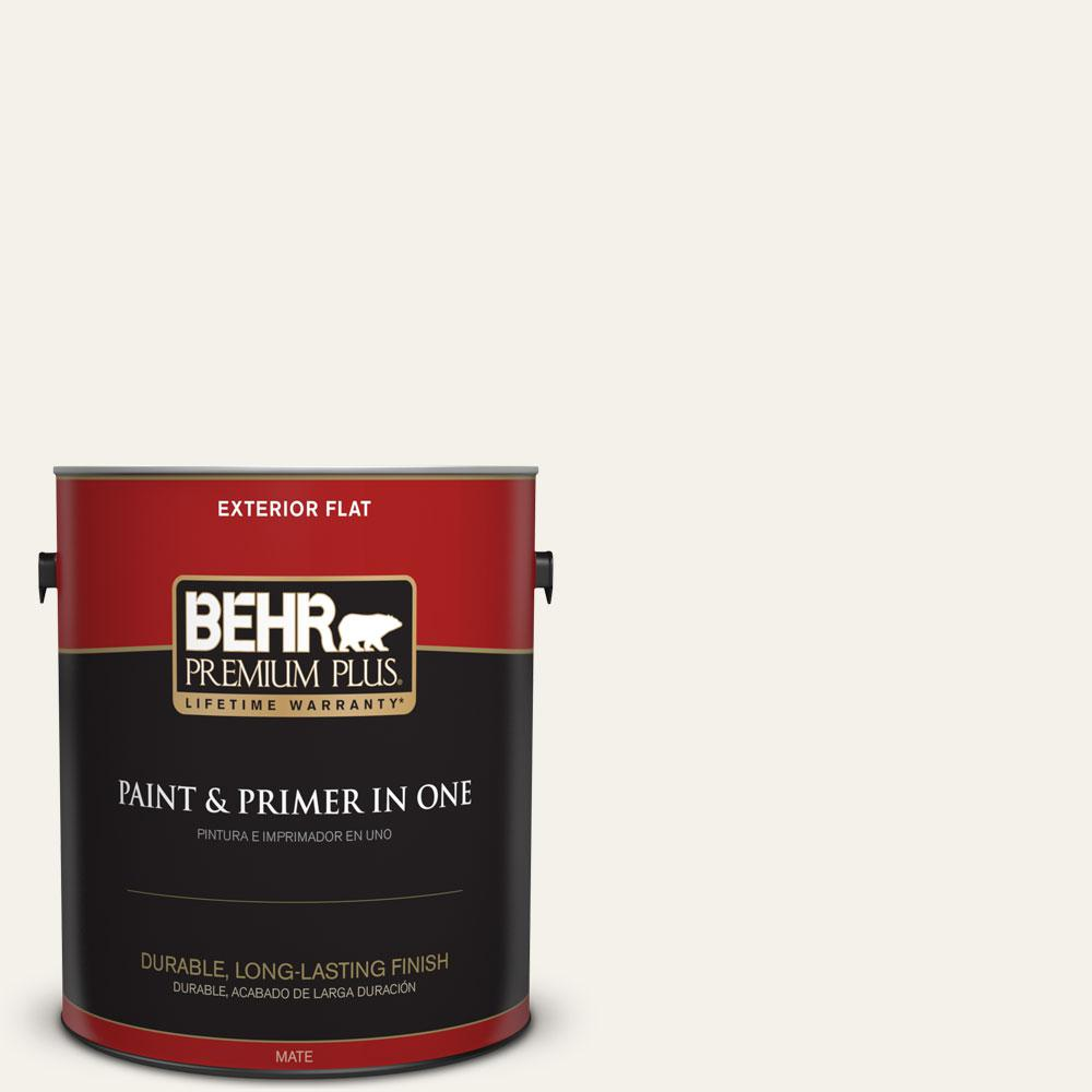 BEHR Premium Plus 1-gal. #PWN-50 Snowy Egret Flat Exterior Paint