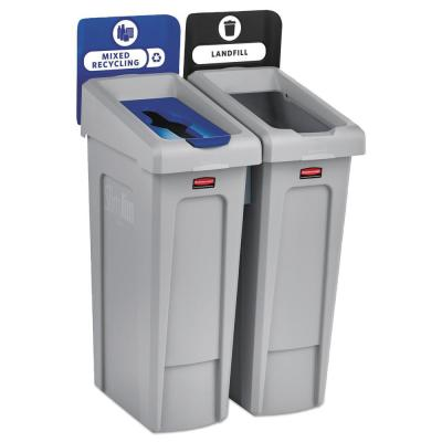 46 Gal. 2-Stream Landfill/Mixed Recycling Slim Jim Indoor Recycling Station Kit