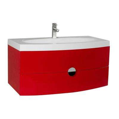 Bath Vanity in Red with Acrylic Vanity Top in White with White