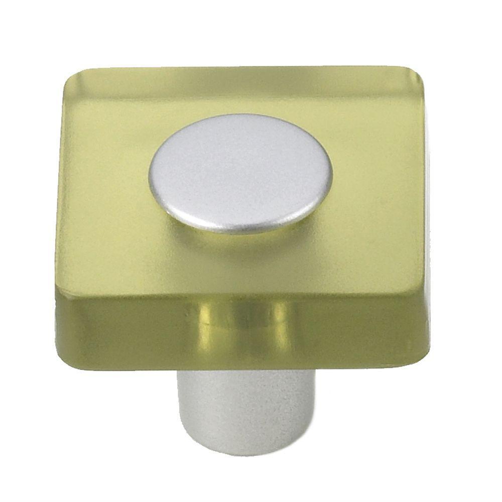 Olive Green/Matte Aluminum Square Cabinet Knob