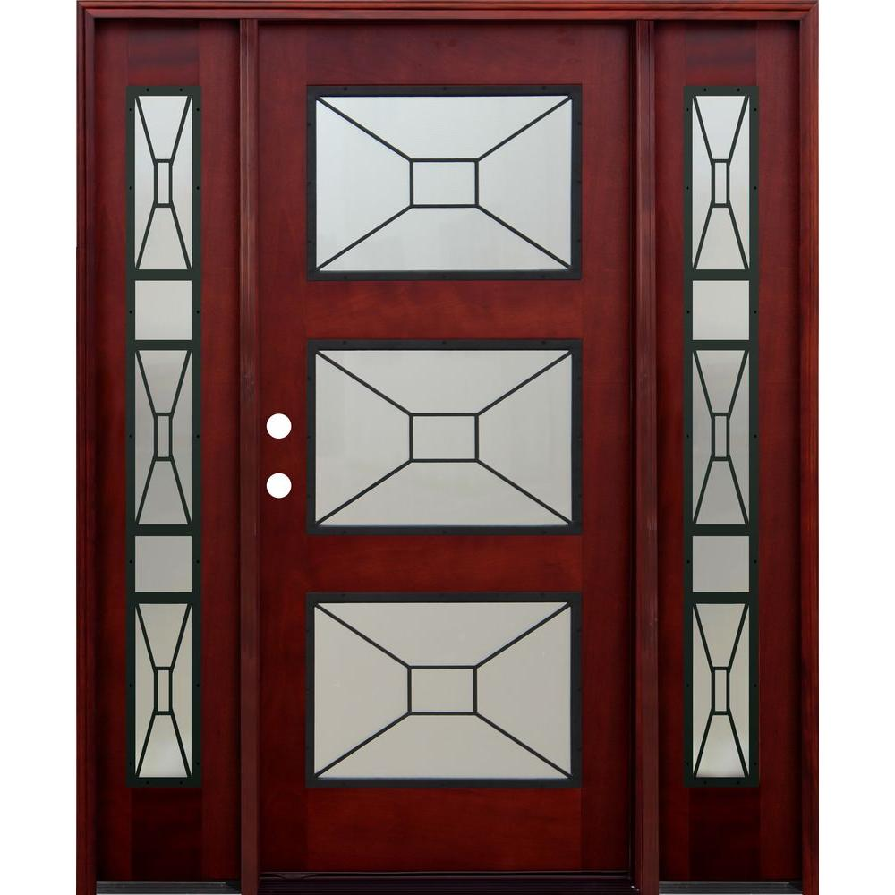 Pacific Entries 36 in. x 80 in. Contemporary 3 Lite Mistlite Stained Mahogany Wood Prehung Front Door with Grille and 12 in. Sidelites