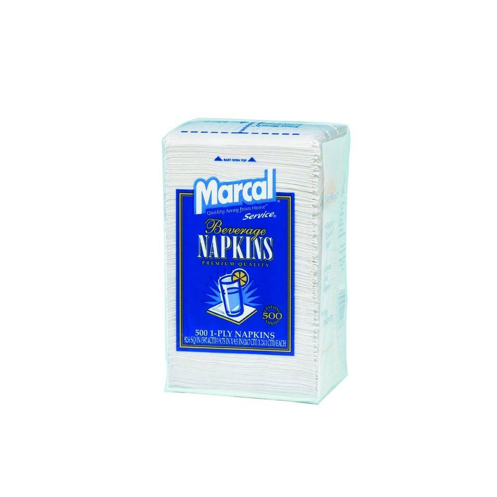 Marcal 100% Premium Recycled Beverage Napkins, 1-Ply, 9.75 in. x 9.5 in., White, 8 Packs of 500