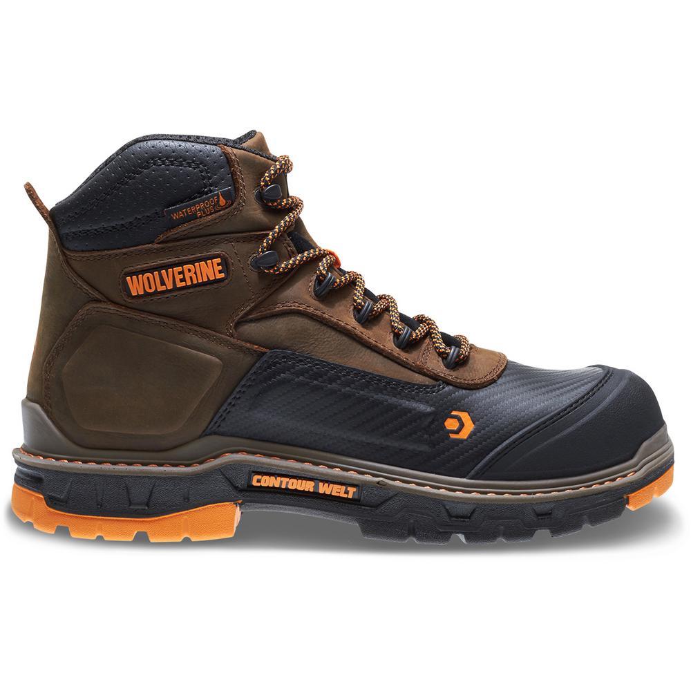 """Men's Overpass 12M Brown Leather Waterproof Composite Toe 6"""" Boot"""