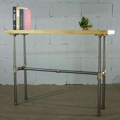 Corvallis Industrial, Natural Pipe Entryway/Console/Sofa/Hall Table-Metal-Reclaimed/Aged Wood