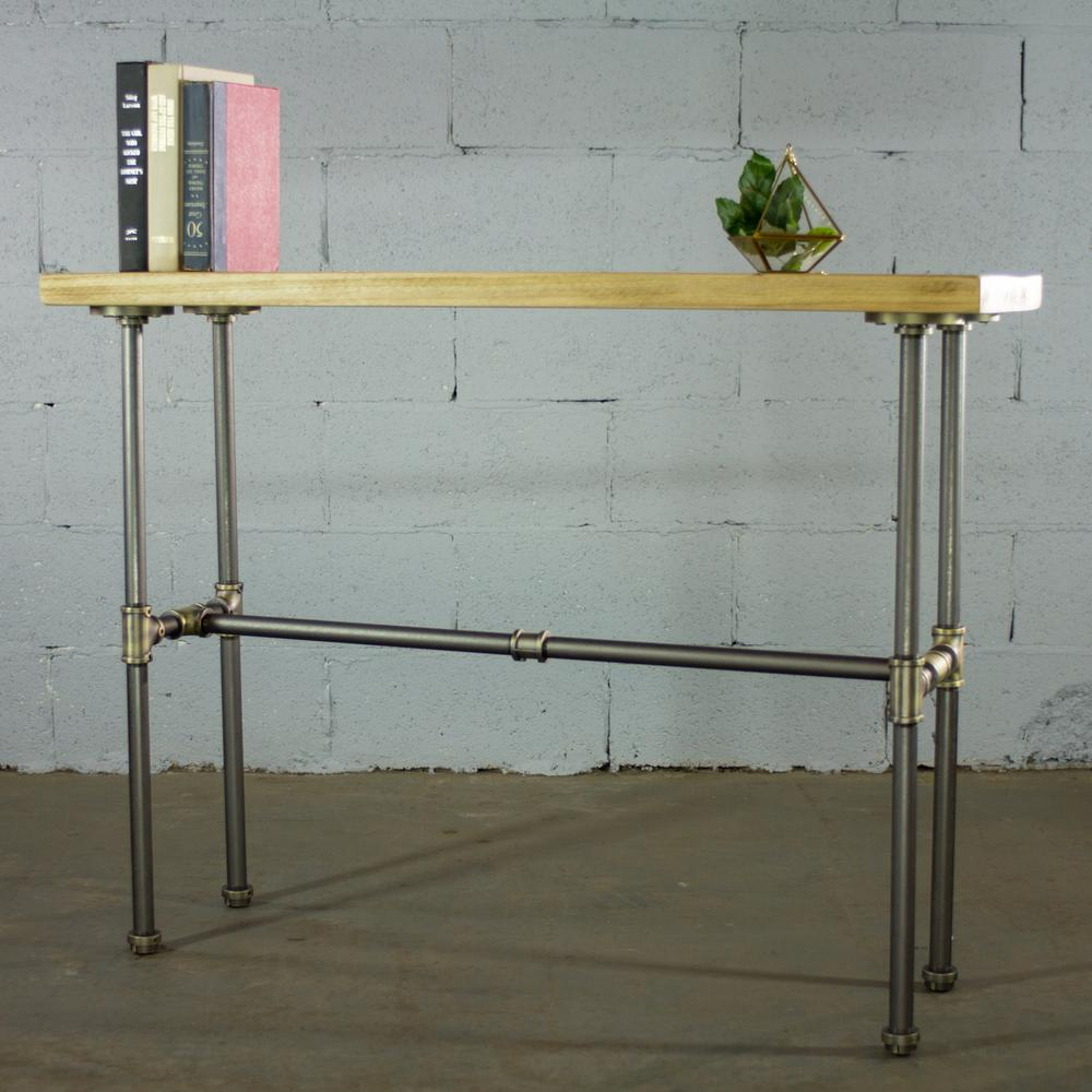 Corvallis industrial natural pipe entryway console sofa hall table metal reclaimed aged wood