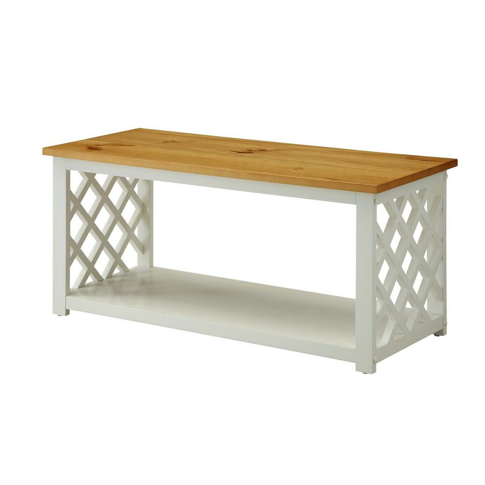 Convenience Concepts Cape Cod White And Pine Coffee Table