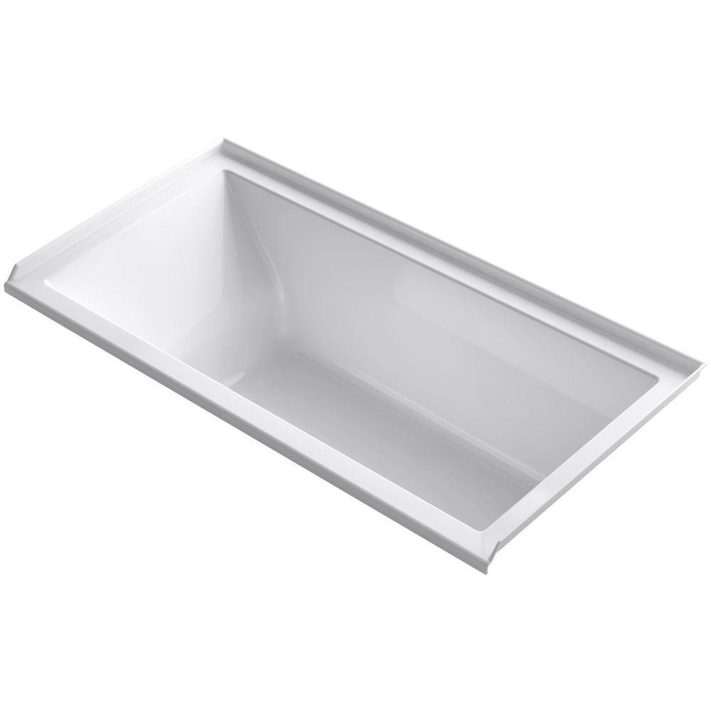 Rectangle Right Hand Drain Bathtub In White