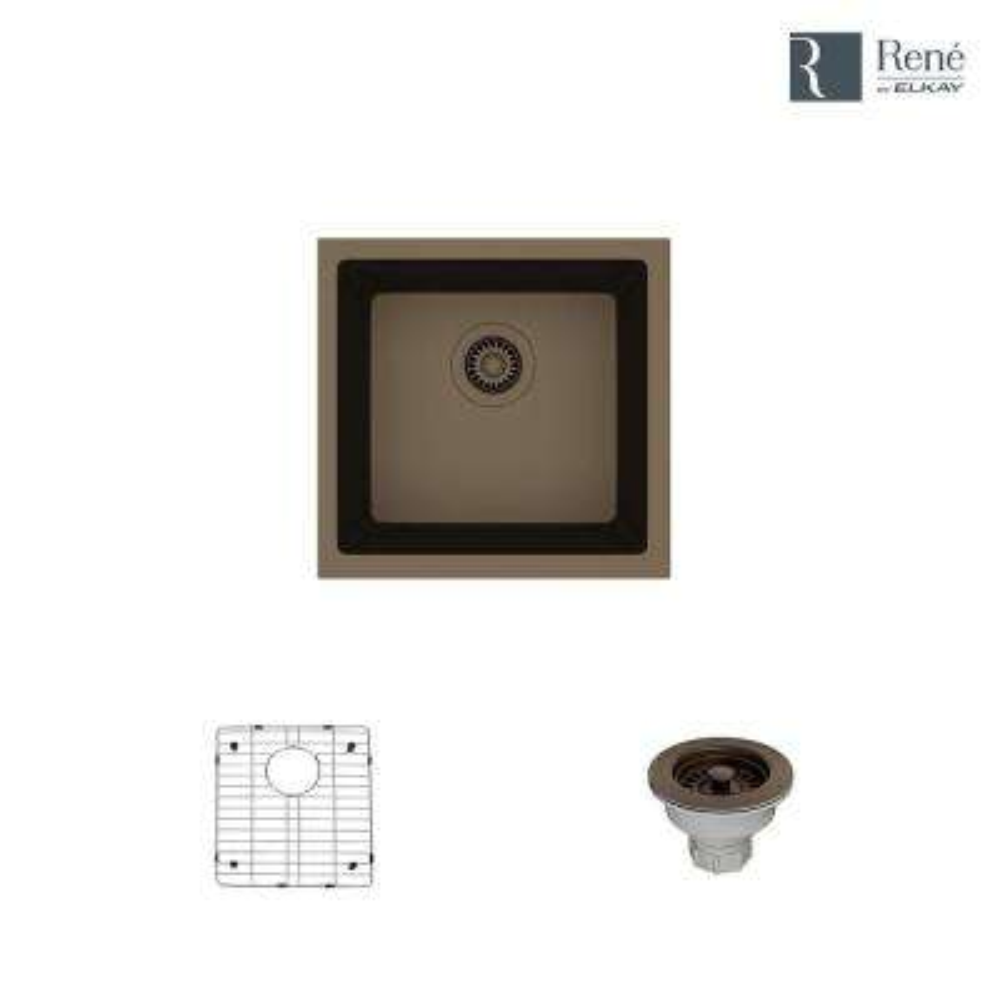 Dual-mount Composite Granite 17-3/4 in. Single Bowl Kitchen Sink in Umber