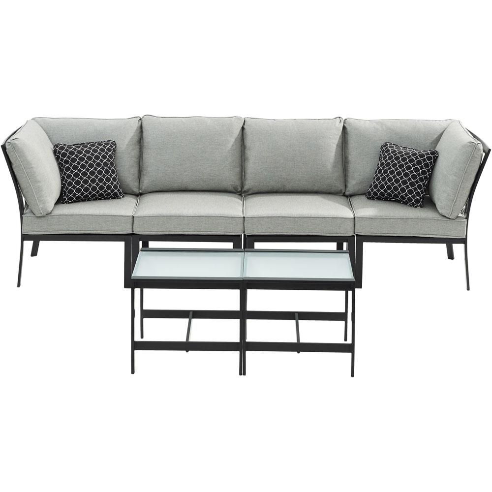 Brooklyn 6-Piece Metal Patio Seating Set with Silver Cushions