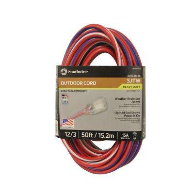 50 ft. 12/3 SJTW Red/White/Blue with Lighted Ends Extension Cord