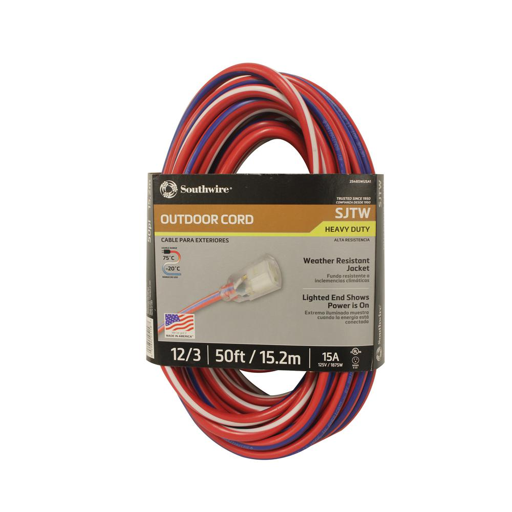 Southwire 50 ft. 12/3 SJTW USA Outdoor Heavy-Duty Extension Cord with Power Light Plug