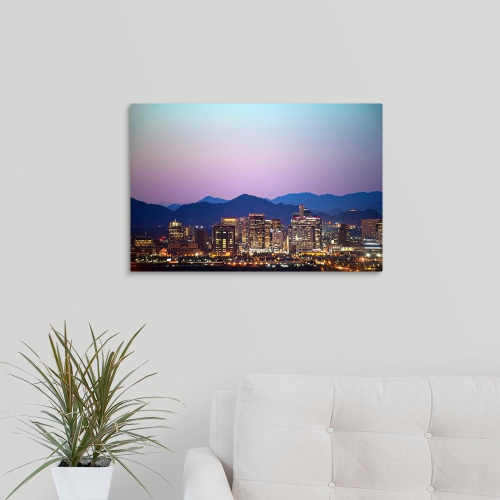 "GreatBigCanvas ""Phoenix, AZ Skyline at Sunset"" by Circle Capture Canvas Wall Art-2522504_24_24x16 - The Home Depot"