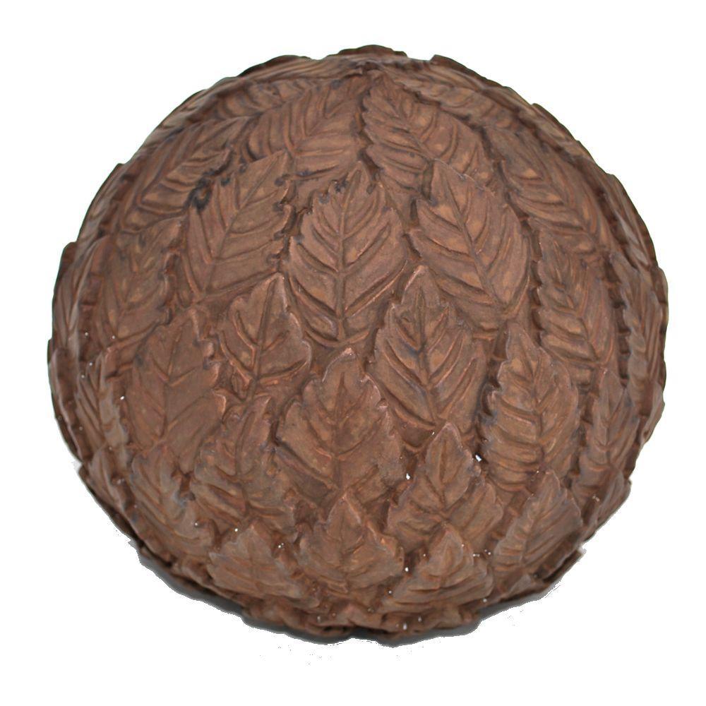 Cast Stone Leaf Ball Garden Finial Dark Walnut