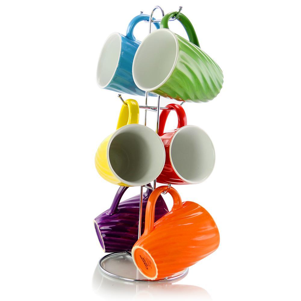 Color Delight 10 oz. Assorted Color Stoneware Mug (Set of 6)