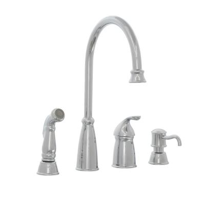 Avalon Single-Handle High-Arc Standard Kitchen Faucet with Side Sprayer and Soap Dispenser in Polished Chrome