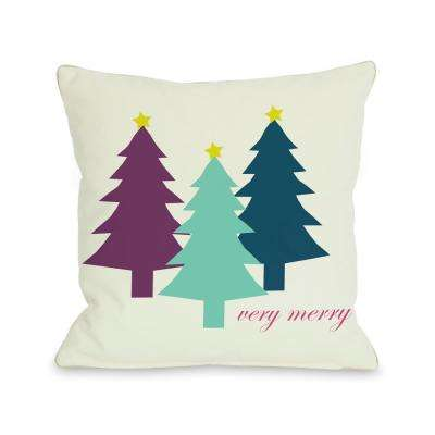 Very Merry Christmas Trees Reversible 16 in. x 16 in. Decorative Pillow