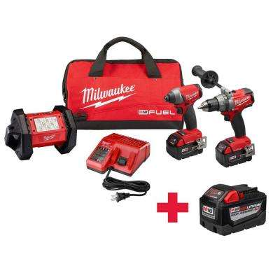M18 FUEL ONE-KEY 18-Volt Lithium-Ion Brushless Cordless Hammer Drill/Impact Driver/Light Combo Kit W/ Free 9.0AH Battery