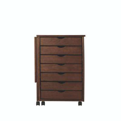 Stanton 21 in. W Single Gate Leg Storage Cart in Chestnut