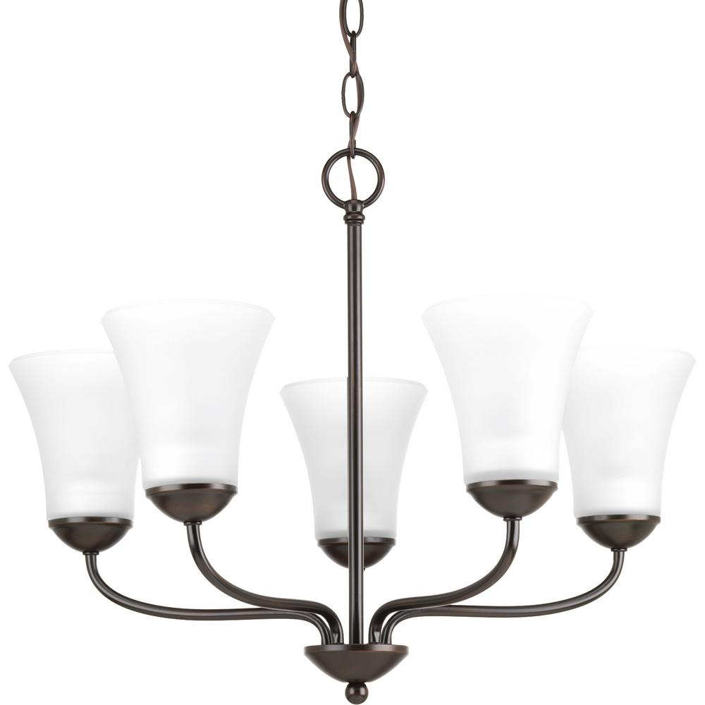 Progress Lighting Classic Collection 5-Light Antique Bronze Chandelier with Etched Glass Shade