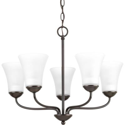 Classic Collection 5-Light Antique Bronze Chandelier with Etched Glass Shade