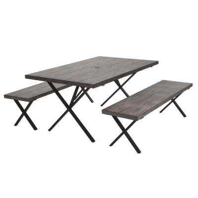 Farmstead 3-Piece Dark Brown Aluminum Outdoor Dining Set