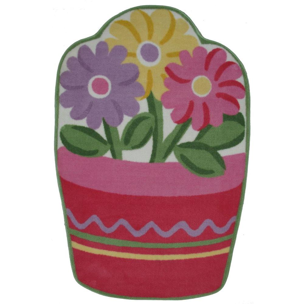 LA Rug Fun Time Shape Flower Pot Multi Colored 3 ft. x 5 ft. Area ...