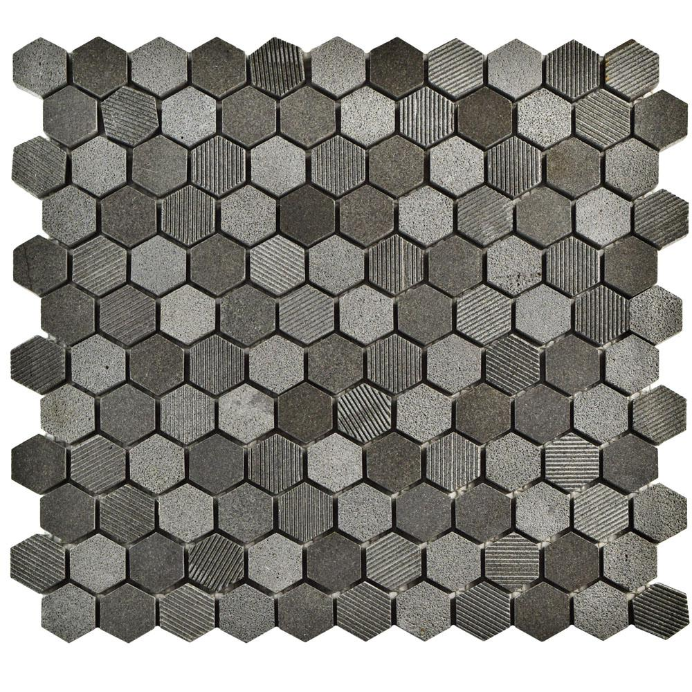 Merola Tile Structure Hex Black 11 in. x 11-5/8 in. x 8 mm Natural Lava Stone Mosaic Tile