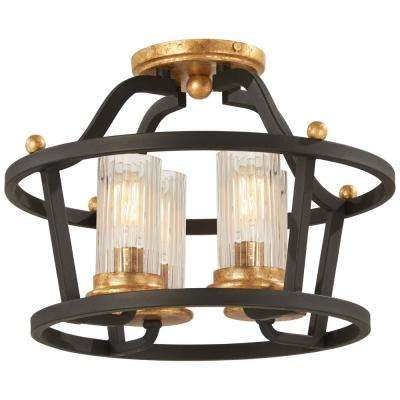 Posh Horizon 4-Light Sand Black Semi-Flush Mount with Gold Leaf