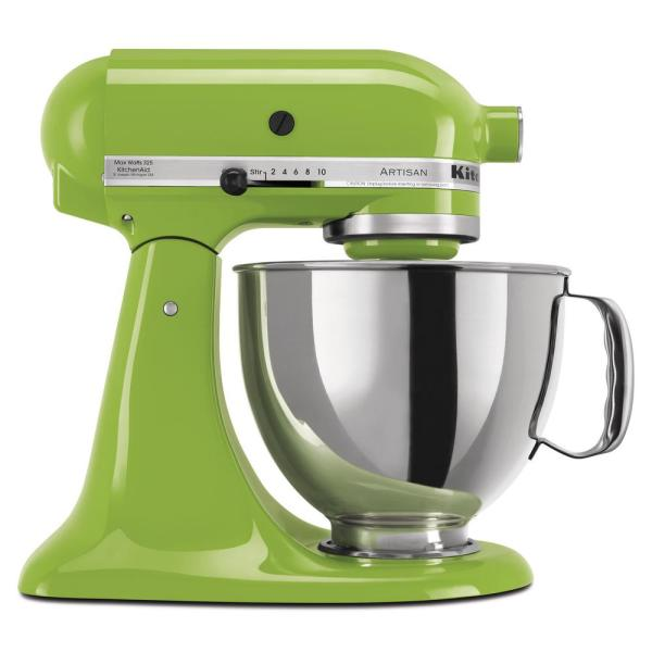 Artisan 5 Qt. 10-Speed Green Apple Stand Mixer with Flat Beater, 6-Wire Whip and Dough Hook Attachments