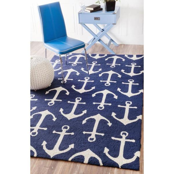 Nuloom Nautical Anchors Navy 8 Ft X 10