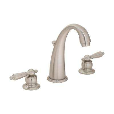 Origins 8 in. Widespread 2-Handle Bathroom Faucet with Pop-Up Drain in Satin Nickel