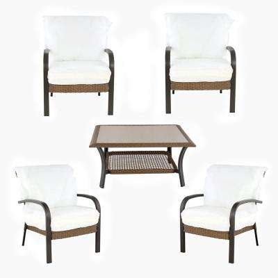 Corranade Custom 5-Piece Wicker Patio Conversation Set with Cushions Included, Choose Your Own Color