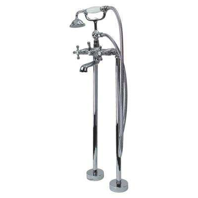 Cromwell 2-Handle Freestanding Floor Mount Tub Faucet with Handshower in Polished Chrome
