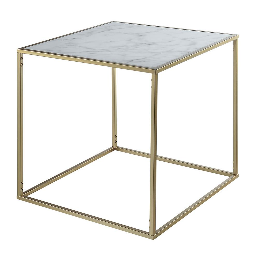 Convenience Concepts Gold Coast Gold And Faux Marble End Table U12