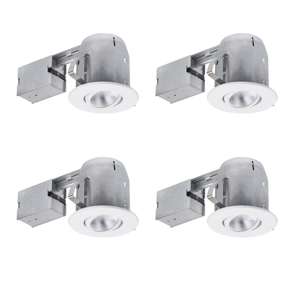 5 in. White Recessed Swivel Spot-Light Kit (4-Pack)