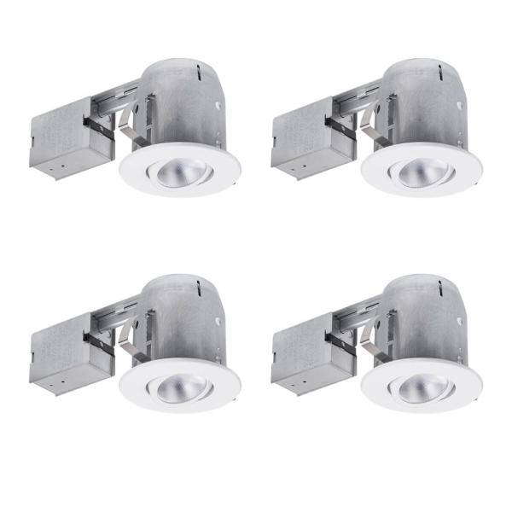 5 in. White Recessed Swivel Spot-Light Kit (4-Pack)