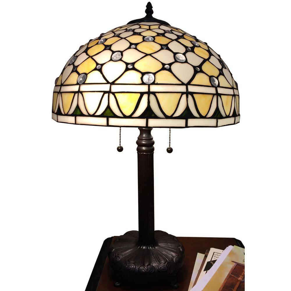 583915930956 Cleo 25 in. Bronze Indoor 16 in. Table Lamp with Tiffany-Style Shade ...