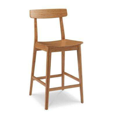 Currant 30 in. Caramelized 100% Solid Classic Bamboo Bar Stool with Back (Set of 2)