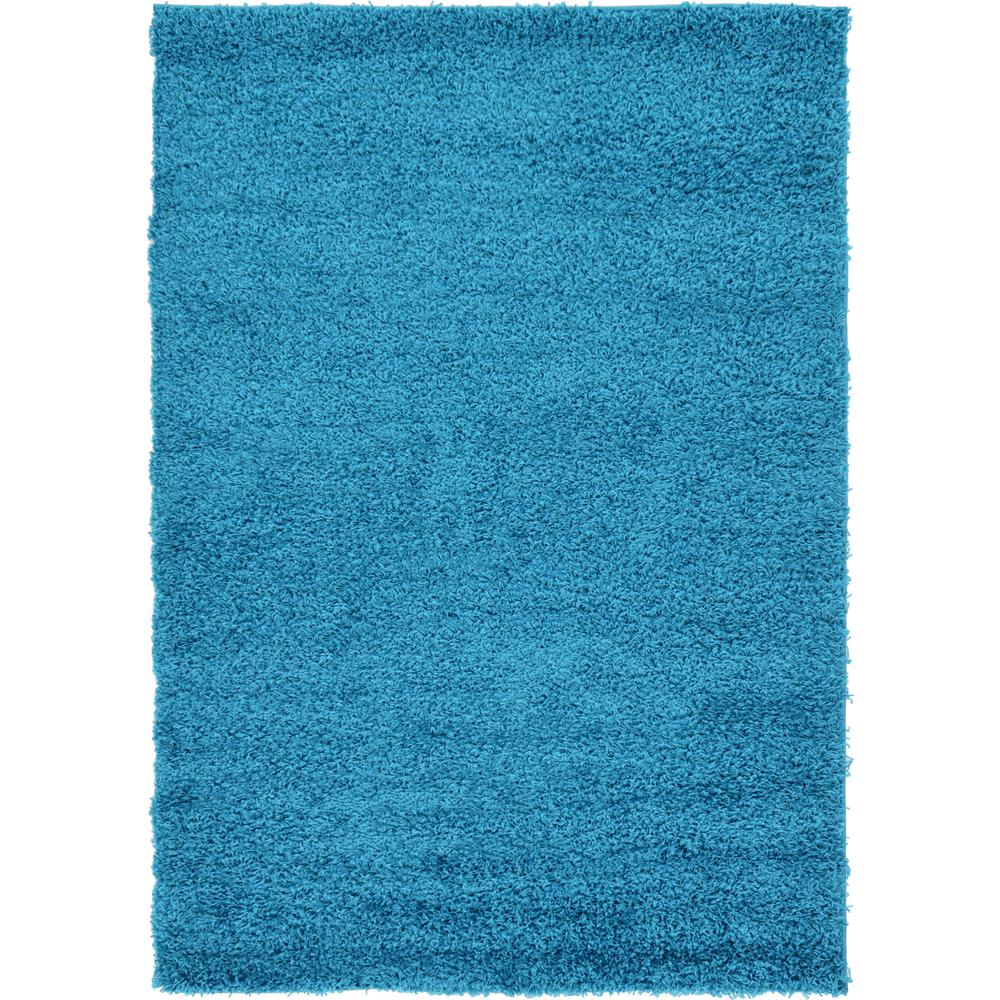 Unique Loom Solid Shag Turquoise 4 Ft X 6 Ft Area Rug