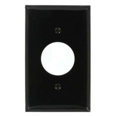 1-Gang Standard Size Nylon Wall Plate and 1-Single Receptacle in Black