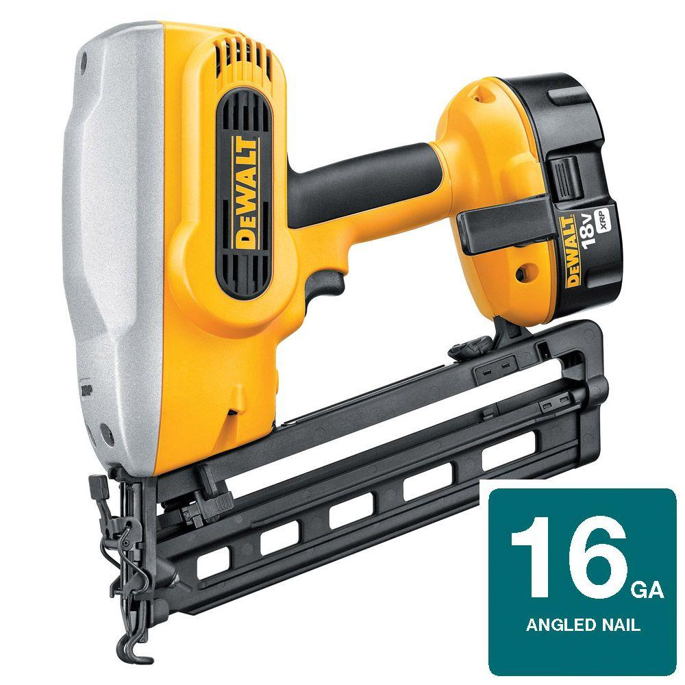 DEWALT 18-Volt XRP NiCd Cordless 16-Gauge 20 Degree Angled Nailer with Battery 2.4Ah, 1-Hour Charger and Case