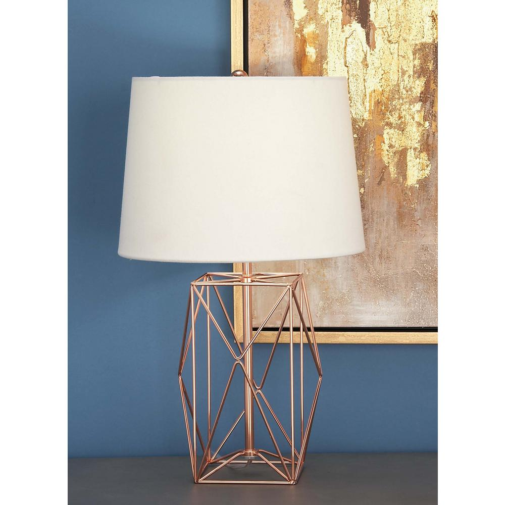 Modern Rose Gold Iron Wire Asymmetrical Prism Table Lamp