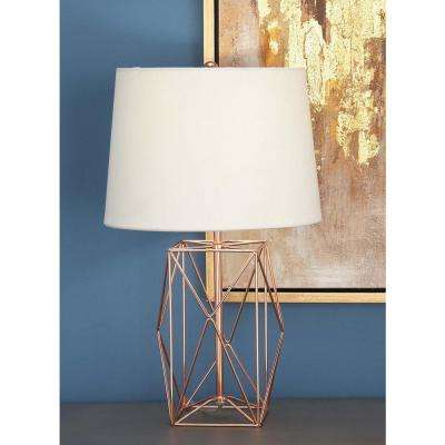21 in. Modern Rose Gold Iron Wire Asymmetrical Prism Table Lamp