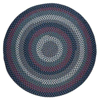 Country Medley Navy Blue Multi 6 ft. x 6 ft. Round Indoor/Outdoor Braided Area Rug