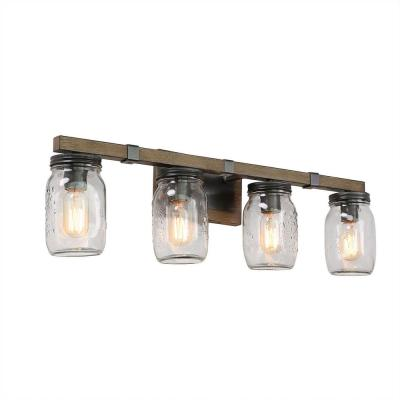 Industrial 4-Light Dark Bronze Vanity Light Wall Mount with Clear Mason Jar Glass Sconce