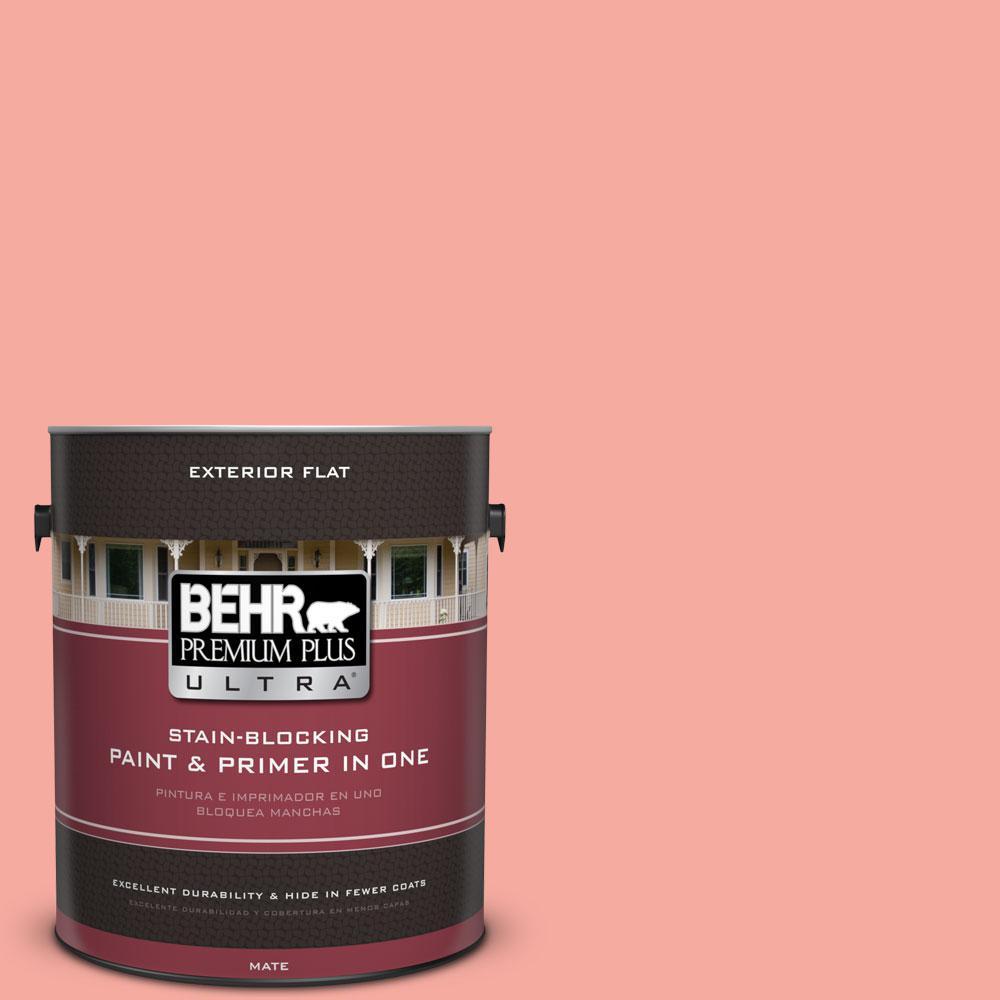 BEHR Premium Plus Ultra 1-gal. #190D-4 Rosy Outlook Flat Exterior Paint
