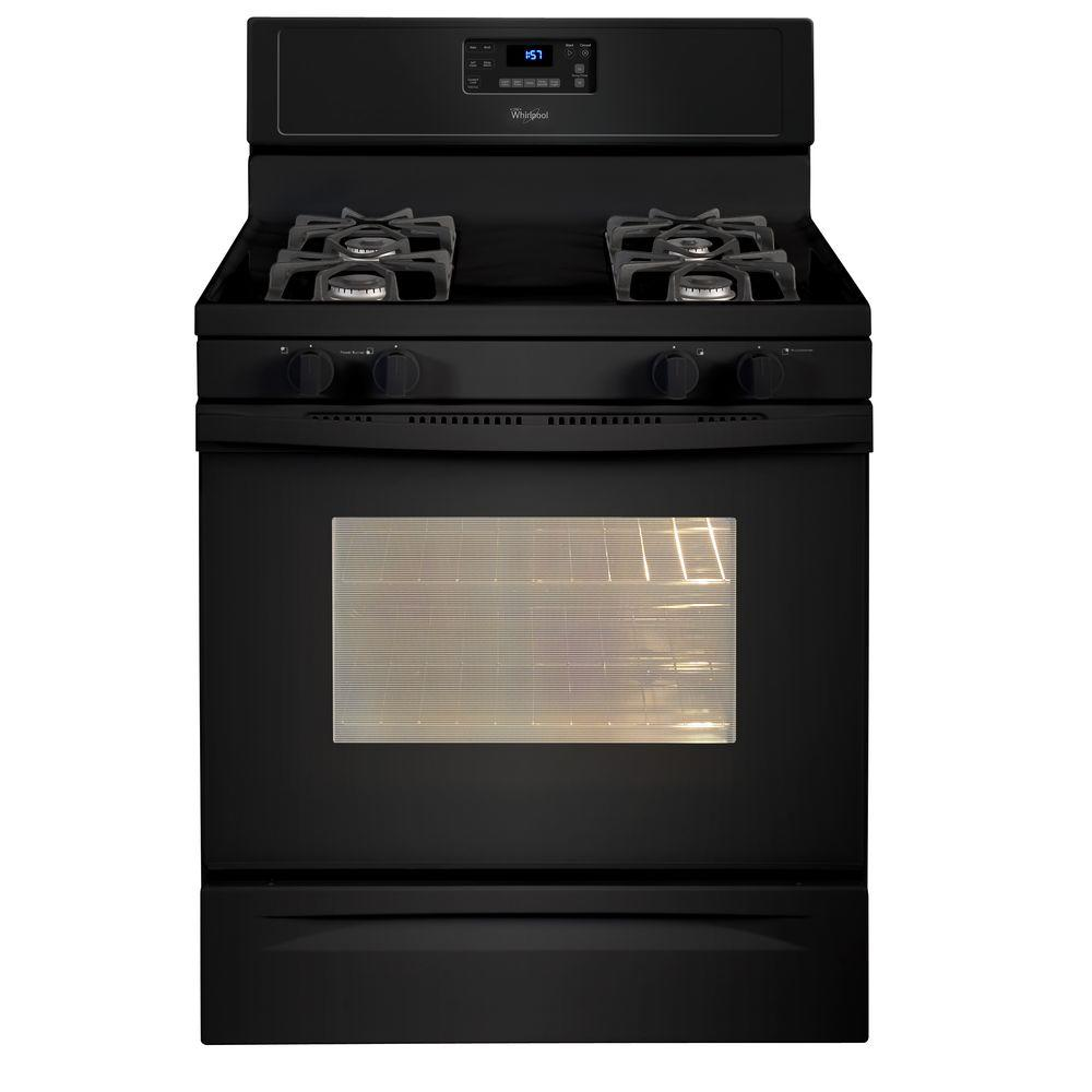 Whirlpool 5.0 cu. ft. Gas Range with Self-Cleaning Oven in Black