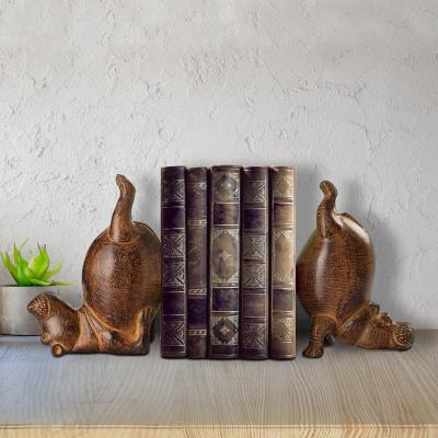 Brown Metal Hippo Bookends (Set of 2)